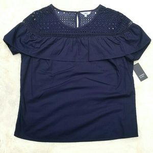 crown & ivy Tops - NEW Crown & Ivy navy top velvet lace, ruffle, s